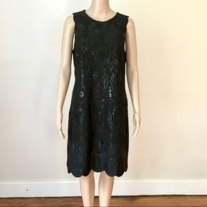 Ann Klein Sleeveless Sequined Scalloped Hem Dress